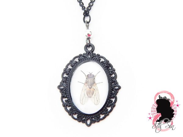 Gunmetal Black Fly Necklace